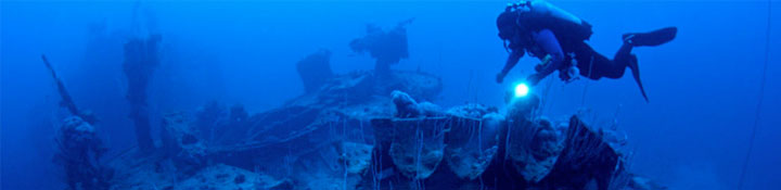 Diver on Bikini Atoll Shipwreck, Marshall Islands