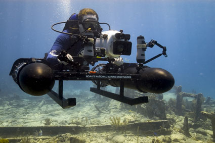 Diver with big camera - NOAA